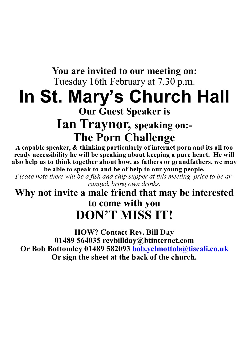 Men's Group with Guest Speaker Ian Traynor @ Church Hall